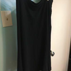 Black knee-length flare skirt